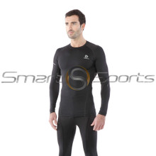 Tesla Mens Compression Top Long Sleeve Round Neck Black
