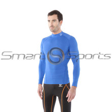 Tesla Mens Compression Top Long Sleeve Turtle Neck Blue