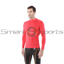 Tesla Mens Compression Top Long Sleeve Turtle Neck Red