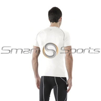 Tesla Mens Compression Top Short Sleeve Round Neck White Silver