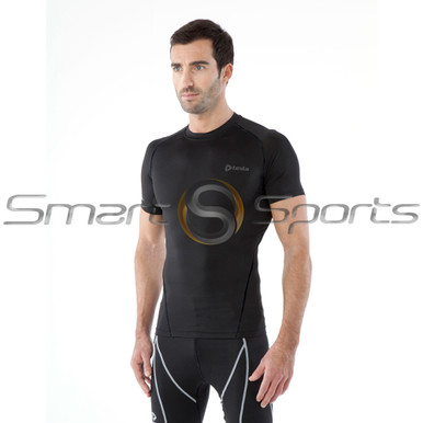 Tesla Mens Compression Top Short Sleeve Round Neck Winter Black