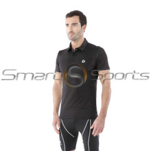 Mens Compression Top Short Sleeve Polo Shirts Black Tesla