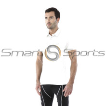 Mens Compression Top Short Sleeve Polo Shirts White Tesla