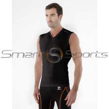 Mens Compression Top Sleeveless V-Neck Premium Black Tesla