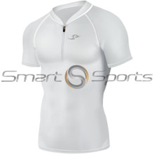 Mens Compression Top Short Sleeve Zip White Take 5