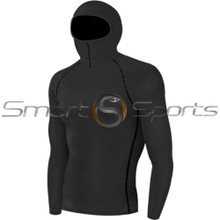 Mens Compression Top Long Sleeve Hood Black Take 5