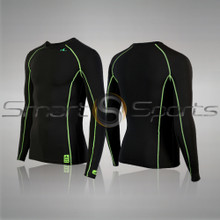 Mens Thermal Compression Top Round Neck Long Sleeve Lightweight  Black Athlete TX