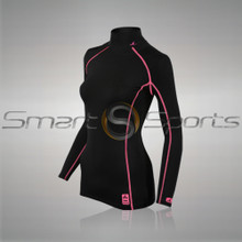 Womens Compression Top Long Sleeve Thermal Turtle Neck Black Pink Athlete TX