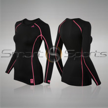 Womens Compression Top Long Sleeve Thermal Lightweight Black Pink Athlete TX