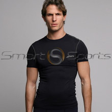 Athlete BX Mens Short Sleeve Lightweight Compression Top Plain Black