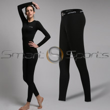 Womens Compression Tights Long Thermal Pants Lightweight Black Athlete TX