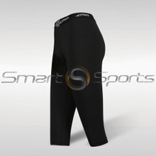 Womens Compression Tights 3/4 Capri Pants Lightweight Black Athlete BX