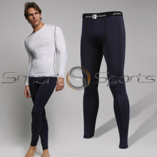 Athlete BX Mens Long Pants Lightweight Compression Tights Navy