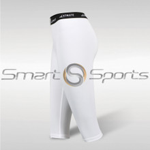 Womens Compression Tights 3/4 Capri Pants Lightweight White Athlete BX