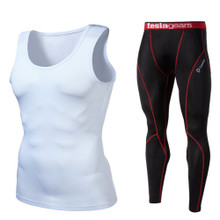 Sleeveless Compression Top & Pants White Black Red 2 Pack SET | Tesla
