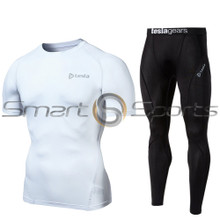 Short sleeve Compression Top & Pants White Black 2 Pack SET | Tesla