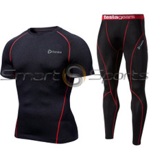 Short sleeve Compression Top & Pants Black Red 2 Pack SET | Tesla