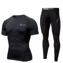 Short Sleeve Compression Top & Pants Black 2 Pack SET | Tesla