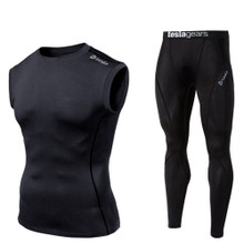 Sleeveless Compression Top & Pants Black  2 Pack SET | Tesla