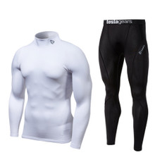 Turtle Neck Long Sleeve Compression Top & Pants White Black 2 Pack SET | Tesla
