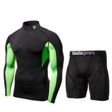 Turtle Neck Long Sleeve Mesh Compression Top & Shorts Black 2 Pack SET | Tesla