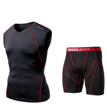 V Neck Sleeveless  Compression Top & Shorts Black Red 2 Pack SET | Tesla