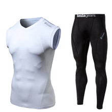 V Neck Sleeveless Compression Top & Pants White Black 2 Pack SET | Tesla