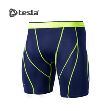 Mens Compression Navy Lime Short Pants Gym Workout Fitness Tesla