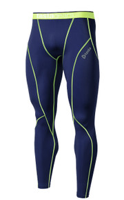 Mens Compression Navy Lime Long Pants Gym Workout Fitness Tesla