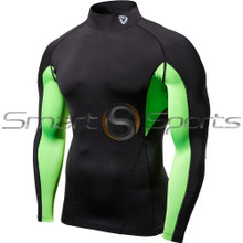 Mens Compression Black Mesh Tutrle Neck Long Sleeve Mesh Skins Gym Workout Fitness Tesla