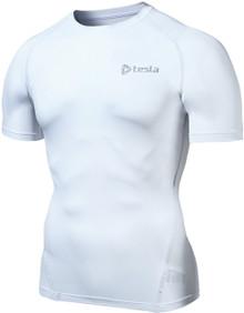 Mens Compression White Short Sleeve Skins Gym Workout Fitness Tesla