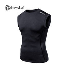 Mens Compression Black Sleeveless Skins Gym Workout Fitness Tesla