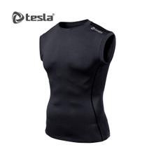 Mens Compression Black Sleeveless Skins Gym Workout Fitness Tesla
