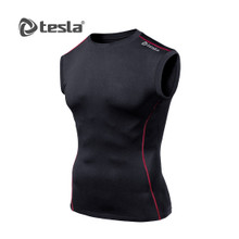 Mens Compression Black Red Sleeveless Skins Gym Workout Fitness Tesla
