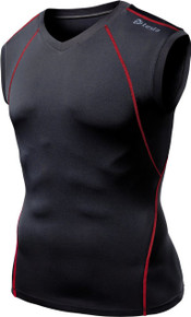 Mens Compression Black Red V-Neck Sleeveless Skins Gym Workout Fitness Tesla