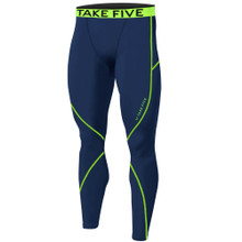 New Mens Compression Pants Base Layer Tights Navy Neon Take 5
