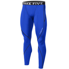 New Mens Compression Pants Base Layer Tights Blue Take 5