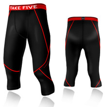 New Mens Compression Capri 3/4 Pants Base Layer Tights Black Red Take 5