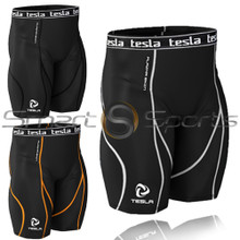 Mens Baselayer Shorts Compression Above Knee Pants Tesla
