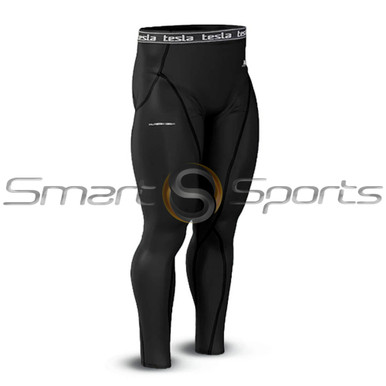 Mens Compression Long Pants Base Layer Skin Tight Tesla Black