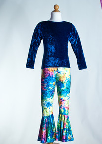 Royal Crew Neck Top & Multi Tie Dye Bell Bottom     Matching Doll Outfit available