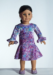 Lilac Specks Doll Dress     Matching Girl Dress available