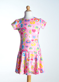 Pink Heart Drop Waist Dress     Matching Doll Dress available