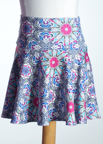 Grey/Fushia Kali Yoke Skirt     Matching Doll Dress available