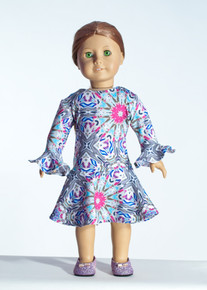 Grey/Fushia Kalii Doll Dress     Matching Girl Dress available