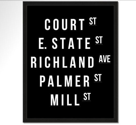 Athens Ohio Street Name Poster