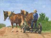 """Sampson, Cyrus and Levi"" 12x9 giclee' on stretched canvas by George Inslee, unframed"
