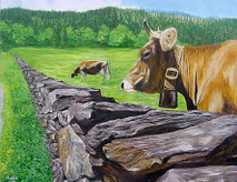 Brown Swiss - 20x16 giclee' on canvas by George Inslee, unframed
