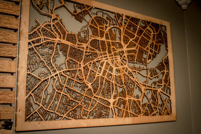 """10 Major City Maps - 24""""x36"""" Poster-sized Wood cutout of streets in: Nashville, New York, Atlanta, Boston, Seattle, Chicago, & More!"""