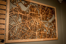 "10 Major City Maps - 24""x36"" Poster-sized Wood cutout of streets in: Nashville, New York, Atlanta, Boston, Seattle, Chicago, & More!"
